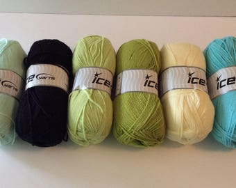 Ice Yarns! Fragrant, AntiBacterial, 3dk, 100g, 6 colors, 100% Micro Acrylic