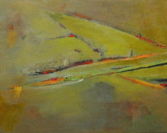 """Original oil painting abstract landscape California rice fields driving by in the rain 8""""x10"""""""