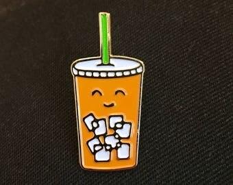 Thai Iced tea enamel pin/ Mr Tea/ Iced Latte pin/ Iced tea pin/ foodies pin/ starbucks drink pin/ foodies/ lapel pin/ milky tea/ drink pin
