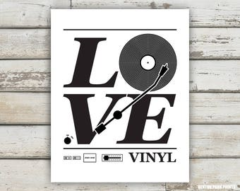 Love Vinyl, Vinyl Record Print, Vinyl Record Art, Love Print, Music Poster, Music Room, Record Collection Print