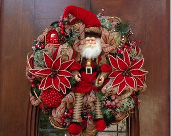 Khaki and Red Mesh Santa Wreath