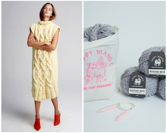 Loopy Mango DIY Kit - Cable Dress - Merino No. 5