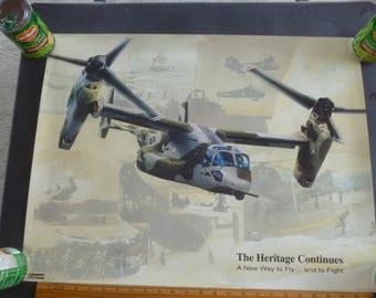 Vintage US Marines Tiltroter Osprey Aircraft Art Poster 1992