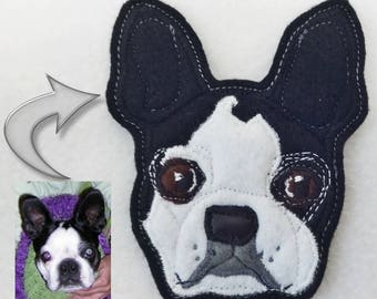 Dog Custom Patch. Handmade Portrait. Textile Art. Boston Terrier