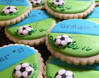 Personalized soccer cookies