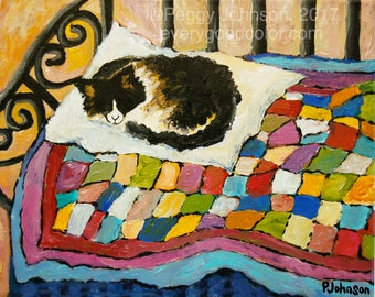 sleeping cat colorful quilt giclee print painting choose your size Peggy Johnson everygoodcolor