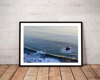 "ocean photography print / nature sea California landscape art print / blue aqua large wall art / beach water waves decor / ""seastack sunset"""