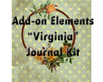 "Add on Kit for ""Virginia"" Yellow Rose Shabby Chic Scrapbooking Junk Journal Pages"