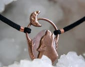 Copper rose quartz howling wolf moon choker, electroformed vegan leather crystal gemstone necklace