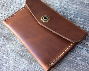 Minimalist wallet, Envelope wallet, Snap wallet, Handsewn wallet, Thin wallet, Mens wallet, Front pocket wallet, Slim wallet, Brown leather