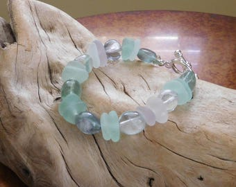 Genuine sea glass bracelet.  Real Beach Glass.  Lavender and sea foam.  Mixed with fluorite.  Summer time by the beach.