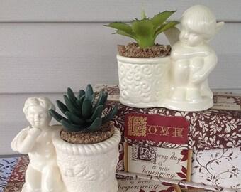 2 Cherub Succulent Planters - White Ceramic Planters / Trinket Catchers