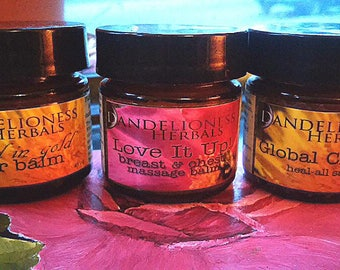 SALE Set of 3 Herbal Salves: Etched in Gold Scar Balm * Global Citizen Heal-All Salve * Love It Up! Breast & Chest Massage Balm