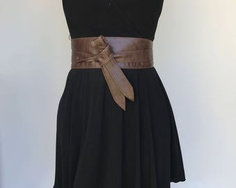 Distressed Brown Leather Obi Belt, Wrap Wide Fashion Belts, Women Belt, Stylish Belts