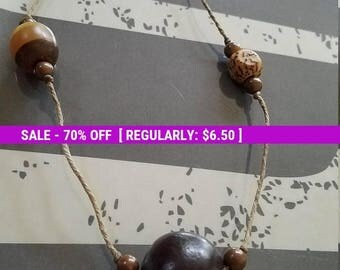 Long unique Wooden bead necklace