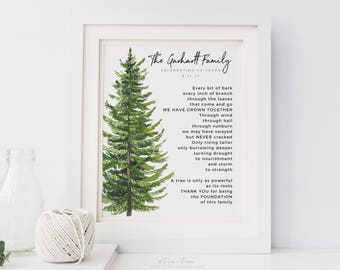 Gift for Parents 30th 40th 50th Wedding Anniversary Watercolor Pine Tree Family Name Art Print Poem, 8x10 in UNFRAMED