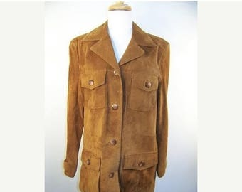 On Sale 50% OFF Vintage V Wear Camel Tan Suede Leather Jacket sz M