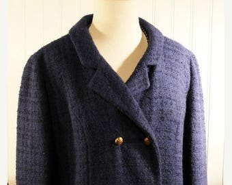 60% OFF Clearance Sale 60s Vintage Sapphire Blue Nubby Wool Swing Coat Overcoat  sz M/L