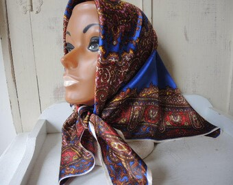 Vintage acetate satin scarf made in Japan blue brown red gold 27 x 27 inches