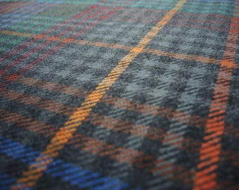 vintage colorful plaid wool blend fabric wide