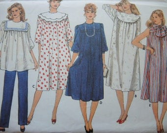vintage 1980s Butterick sewing pattern 4874 misses Maternity dress tunic detachable collars and pants size 16