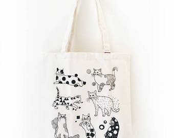 Cats with patterns Tote Bag