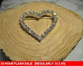 Rhinestone heart brooch, vintage pin brooch, estate jewelry