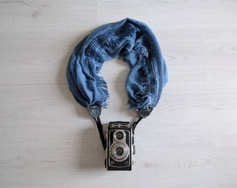 Scarf camera strap Denim blue camera strap Moonlight camera strap Camera scarf DSRL camera strap Photographer accessories Camera accessories