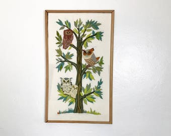 Vintage 70's Embroidered Picture 4 Owls sitting on a Tree Hippie Boho Bohemian Earth Tones Brown MCM Mid Century Modern Wall Hanging Art
