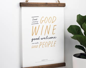 Shakespeare Print - Literary Quote - Wine Quote - Friendship Quote - Gift For Friend - Literary Gift - Shakespeare Gift -Gift For Wine Lover