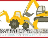Digger and Bulldozer SVG Files, Cuttable - svg, mtc, jpg, studio 3, and dxf files