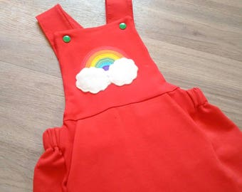 Rainbow applique dungarees, baby/toddler/child