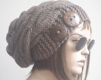 Womens hats, winter hat, oversize cable Knit Hat brown Winter Accessories, Women Slouchy Hat, valentines day