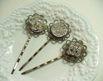 Clear Rhinestone Filigree Hairpins, Antique Brass with Rinestone Buttons, Shabby Chic, Bobby Pin, Hair Clips, Weddings, Hair Accessories