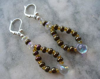 Brown Beaded Dangle Earrings, Brown and Gold Beaded Dangle Earrings, Silver Earrings, Dangle Earrings, Womens Jewelry, Leverback Earrings