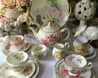 Romantic Vintage  English Tea Set for 4, Complete Tea Set Pink Rose Tea Set Mismatched Tea Set 16 pieces Brides Tea Set Wedding Gift