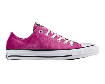Hot Pink Converse Fuchsia Sapphire Converse Crush Velvet Low Top w/ Swarovski Crystal  Rhinestone Jewels Chuck Taylor All Star Sneaker Shoe