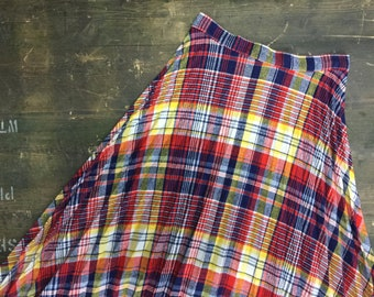 Vintage Red Blue Yellow White Tartan Maxi Skirt - Americana