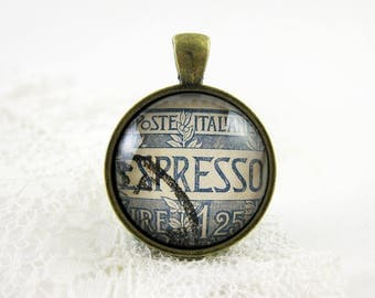 Espresso Pendant, Vintage 1926 Italy Postage Stamp Necklace, Monochromatic Blue & White Statement Jewelry, Coffee Lover, Italia, Gift Idea