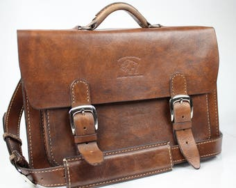 "Leather Messenger Bag,  Leather Briefcase, Leather shoulder bag, Macbook Pro, 15"" 142"