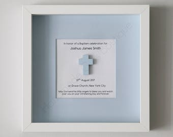 Personalised Baptism/Christening Gift for Boys. Framed Baptism/Christening Cross for Boys. Baptism/Christening Gift for Boys. Boys gift.