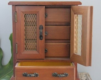 Solid Wood Vintage Jewelry box Chest with gold metal doors, Someday my Love, MUSICAL jewelry box, 4 Drawers and Mesh Doors