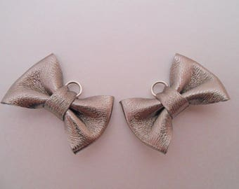 2 mini leather knot genuine pewter 2 x 3 cm