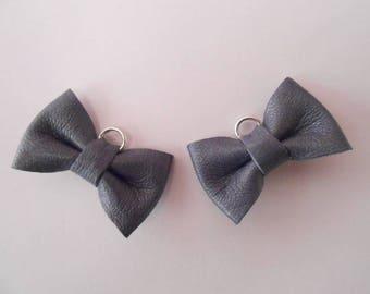 Mini knot leather dark blue 2 x 3 cm