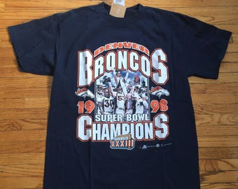 Vintage Denver Broncos NFL Football 1998 Super Bowl 33 Champions T-Shirt