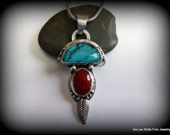 Recycled Silver, Fine Silver, Turquoise, Red Agate, Native American, Southwestern, Pendant, Necklace, Gift