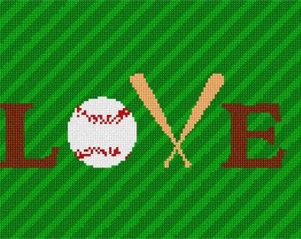 Needlepoint Kit or Canvas: Love Baseball