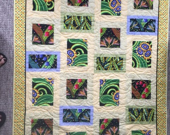 Yellow, Green, Purple, Gold, and Black Jane Sassaman Large Lap Quilt