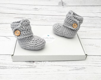 crochet baby booties   gender neutral baby bootees   unisex baby shoes   grey baby button boots   baby shower gift