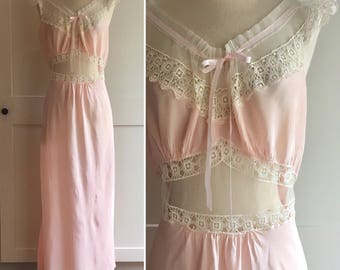 1940s Vintage Illusion Nightgown, 30s 40s Pink Rayon Nightgown with White Cotton Lace and Sheer Illusion Cut Out, 1940s Bridal Negligee